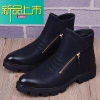 新品上市男靴子马丁靴潮流男鞋韩版尖头男靴英伦时尚内增高靴子工装靴
