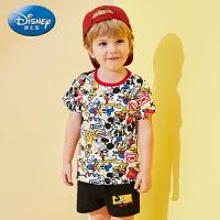 【2件3折价:60.9】迪士尼宝宝童趣乐园男童针织多彩短袖短裤套装夏季新品