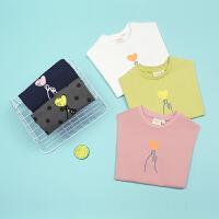 【秒杀价:90元】马拉丁童装女童T恤2020夏装新款比心图案印花多色短袖T恤