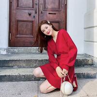 卡贝琳女2019新款秋装法式复古裙山本红色针织连衣裙女维多利亚复古小红裙子女