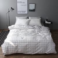 北欧简约全棉1.5M床单四件套日式黑白格子1.8M床笠小清新x定制