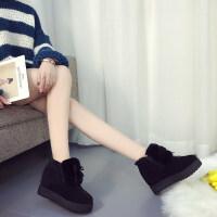 毛毛鞋女冬新款百搭韩版秋季保暖加绒松糕鞋学生内增高棉鞋