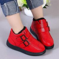 儿童皮鞋 男女童韩版皮鞋中筒短靴2020冬季儿童加绒保暖棉鞋女孩马丁靴小孩鞋子
