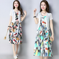 夏季新款胖MM套装裙女装民族风两件套文艺棉麻连衣裙女