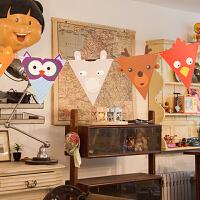 孩派 纸彩旗 三角拉花 生日节庆派对聚会 纸质装饰品 动物彩旗