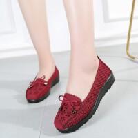 夏季中老年人休闲女鞋平底透气软底网鞋圆头妈妈老北京女布鞋 红色 35