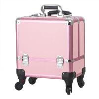 铝合金拉杆化妆箱大容量可手提纹绣工具箱半彩妆箱万向轮
