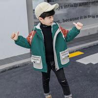 儿童外套 男童加绒保暖连帽中长款上衣棉服2020秋冬款韩版儿童中大童加厚风衣