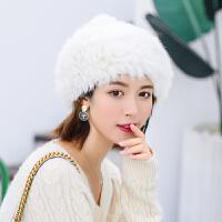 兔毛贝雷帽女冬天加厚保暖蓓蕾帽子韩版日系百搭潮秋冬英伦画家帽