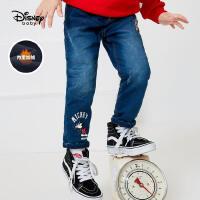 【3折�A估�r:86.3元】迪士尼男童加�q牛仔�秋冬新款童�b���庑蓍e保暖�L������和��子