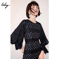 Lily春女装复古圆点拼接蕾丝修身长袖连衣裙119140C7286