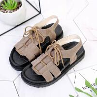原宿凉鞋女学生初中生夏季平底新款韩版时尚少女鞋罗马沙滩鞋
