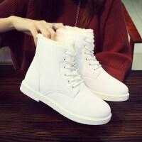2018冬季新款学生冬鞋雪地靴女皮面水靴子短靴加绒女鞋短筒棉