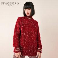 红色英伦波点高领ins毛衣女2019新款春装chic羊毛针织衫太平鸟女