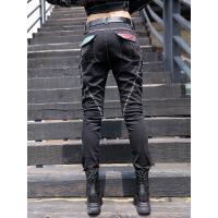 热卖欧美2019秋冬新款洋气裤子个性牛仔裤女宽松显瘦长裤工装裤 黑色