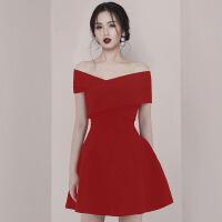 2019新款晚礼服女新款红色平时可穿结婚订婚新娘简单大气连衣裙