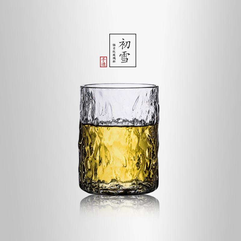 当当优品 锤目纹玻璃杯-初雪 光阴系列 耐热加厚果汁杯酒杯 230ml 当当自营 锤纹小杯 安全高硼硅玻璃 匠心手工制