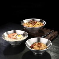 德国304不绣钢碗拉面碗饭碗喝汤碗泡面碗日式防烫创意斗笠碗