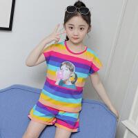 女童运动套装夏季儿童短袖短裤女孩休闲两件套潮