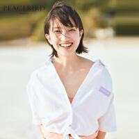 白色短袖衬衫女绑带短款上衣通勤2019夏装新款纯色衬衣太平鸟女