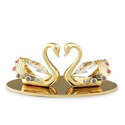 天鹅采用施华洛世奇元素摆件创意车内挂饰品结婚生日礼物定制