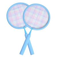 儿童羽毛球拍3-12岁宝宝球拍双拍拍柔软玩具小孩学生运动球类玩具 蓝色双拍(2-7岁)圆拍 送14只球+1个球包