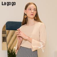 【清仓5折价131】Lagogo/拉谷谷2019春季新款圆领喇叭袖长袖针织衫女IAMM332A22
