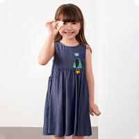 【秒杀价:198元】马拉丁童装女大童连衣裙2020夏装新款图案贴布设计水洗牛仔连衣裙