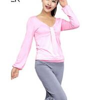新款V领上衣时尚瑜伽服  修身四季女长袖运动健身服