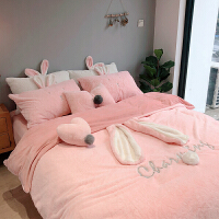 韩版冬季珊瑚绒四件套加厚双面绒少女心可爱兔兔绒法兰绒床上用品