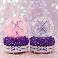 紫色薰衣草旋转飘雪花水晶球音乐盒八音盒男女友儿童生日礼物