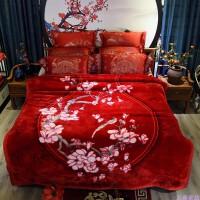 婚庆大红色毛毯结婚拉舍尔盖毯被子冬季加厚双层珊瑚绒毯双人*y 酒红色 寒烟翠红 9斤 200cmx230cm
