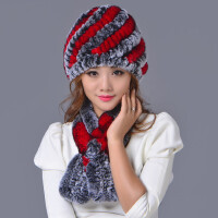 獭兔毛皮草帽子围巾两件套韩版时尚女士保暖兔毛围脖兔毛帽子