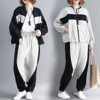 适合胖女人穿的套装胖妹妹春装洋气宽松时髦外套+休闲裤两件套女