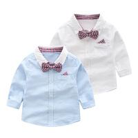 儿童衬衫春季2019新款中小童装长袖领结衬衣男孩宽松衬