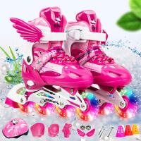 3-4-6-8-10-12岁儿童溜冰鞋全套轮滑男孩女孩旱冰滑冰鞋可调闪光