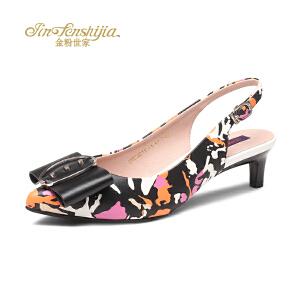 红蜻蜓旗下品牌金粉世家女鞋女凉鞋JGB7021