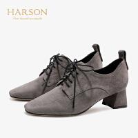 【 限时3折】哈森 2019秋季新款羊反绒通勤单鞋女 休闲系带粗跟高跟鞋 HL96613