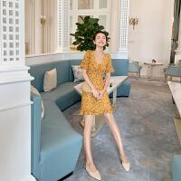 卡贝琳女2019新款法国小众桔梗裙黄色碎花雪纺连衣裙收腰显瘦a字裙超仙娃娃领裙子