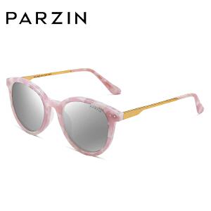 帕森偏光太阳镜 女士复古圆框金属镜腿炫彩膜潮墨镜 9655