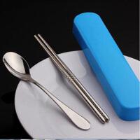 不锈钢便携餐具 学生旅行筷子勺子套装 餐具盒三件套 便携餐具套装 颜色随机 颜色随机