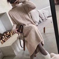 新年特惠秋冬高领过膝加厚打底毛线长裙宽松显瘦麻花针织长款毛衣连衣裙女 均码