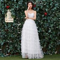 新年特惠森系公主婚纱礼服新娘2019新款冬齐地吊带抹胸轻婚纱简约显瘦旅拍 白色