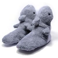 原单儿童棉拖鞋包跟防滑保暖卡通动物鲨鱼软底卧室内居家用地板鞋 浅灰色