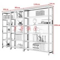 隔断书架置物架实木屏风落地展示书柜现代层架 收纳架子铁艺储物展示架落地
