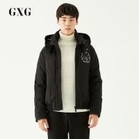 【GXG过年不打烊】GXG男装 冬季男士时尚青年潮流黑色加厚短款连帽羽绒服男士外套