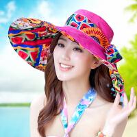 沙滩帽女春夏天海边防晒大沿可折叠遮阳帽