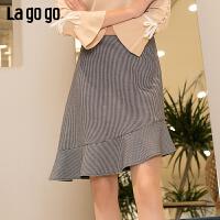 【清仓5折价131】Lagogo/拉谷谷2019春季新款简约短款百搭复古半身裙女IABB241A45
