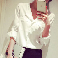 2019春夏新款韩版女士大码时尚休闲衬衣打底雪纺白衬衫上衣 长袖 白色 S