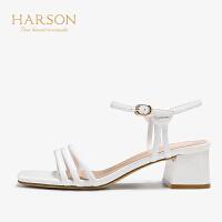 【秋冬新款 限时1折起】哈森 2019夏季新款女鞋 羊皮革一字带烤HM99406